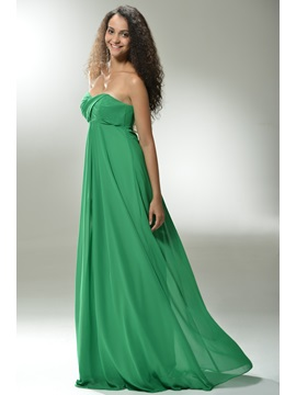 Cheap A-Line Sweetheart Empire Waist Pleats Floor-Length Prom Dress