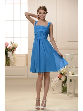 Cheap Spaghetti Straps Square Neck A-Line Short Bridesmaid Dress