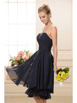 Attractive Ruched A-Line Sweetheart Neckline Tea-Length Bridesmaid Dress
