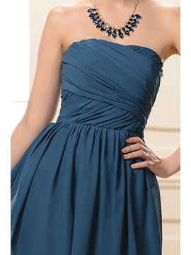 Simple Style Strapless Short A-Line Ruched Bridesmaid Dress