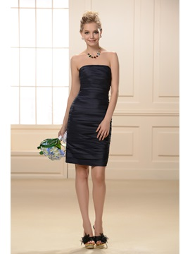 Unique Strapless Pleated Sheath Short Bridesmaid Dress