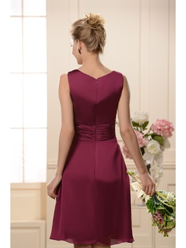 Simple A-Line Draped Knee-Length Bridesmaid Dress