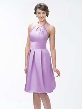Simple Style Halter Knee-Length Zipper-up A-Line Bridesmaid Dress