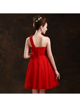 Simple Style Ruched Floral One Shoulder Short Bridesmaid Dress