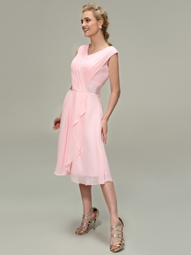 Eye-catching Ruched V-Neck A-Line Tea-Length Bridesmaid Dress