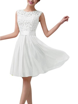 Lovely A-Line Knee Length Lace Top Bridesmaid Dress
