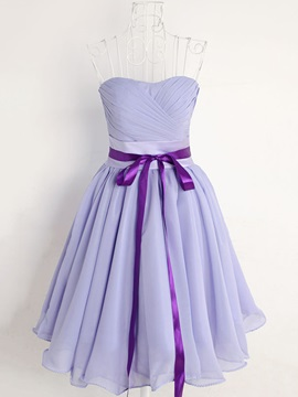 Ruched Sweetheart Short Lavender  Bridesmaid Dress