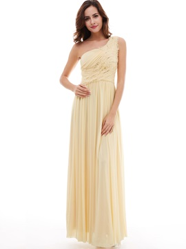 Delicate Draped Pleats A-Line Floor-Length One-Shoulder Evening Dress
