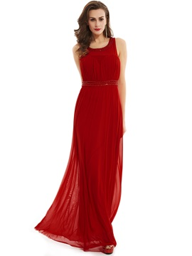 Fancy Scoop Neck Zipper-Up Beaded A Line Evening Dress