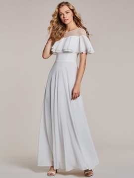 Scoop Neck A Line White Evening Dress