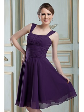 Classic A-Line Square Neckline Straps Pleats Knee-Length Nadya's Bridesmaid Dress