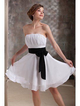 Pretty Ruched Sashes/Ribbons A-Line Strapless Short Daria's Bridesmaid Dress