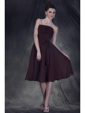 Timeless A-Line Knee-length Strapless Anderai's Bridesmaid Dress