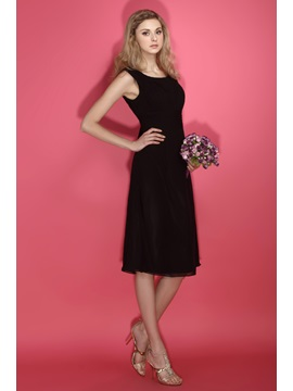 Cheap Scoop Neck Tea-Length Ruched A-Line Dasha's Bridesmaid Dress
