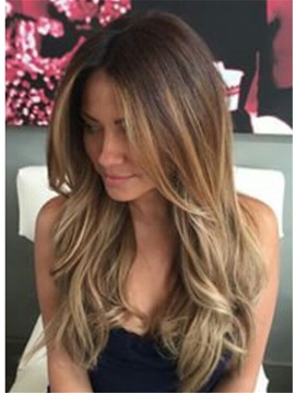 Sexy Long Wavy Layered Human Hair Women Lace Front Wig 22 Inches