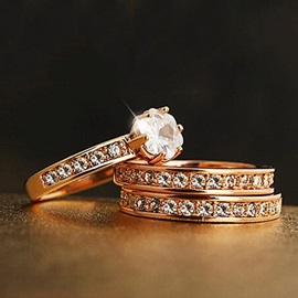 Unique Three in one Crystal Women Ring Set