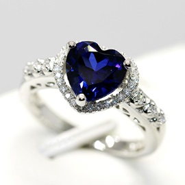 Heart Shaped Sapphire Engagement/Wedding Silver Ring