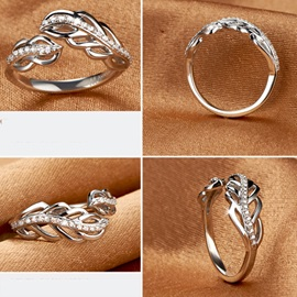 Elegant Feather Shaped 925 Sterling Silver High Quality Wedding Ring