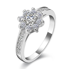 Floral Rhinestone Inlaid 925 Sterling Silver Ring