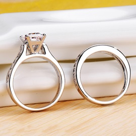 Stylish NSCD Diamond-Shaped Square Pt950 Wedding Ring Set