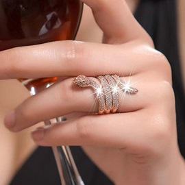 Punk Style Snake Shaped with Crystal Ring