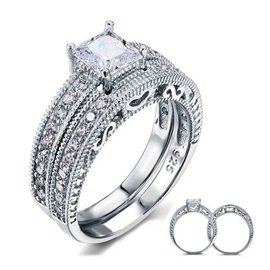Graceful Diamond Decorated 925 Sterling Silver Women's Wedding Ring Set