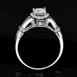 Oval Shape Decorated 925 Sterling Silver Women's Engagement Ring