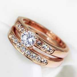 Fashion Double Row Diamond Ring