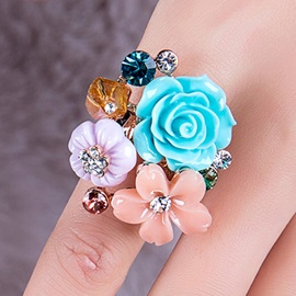 Beautiful Colorful Flowers Ring for Women