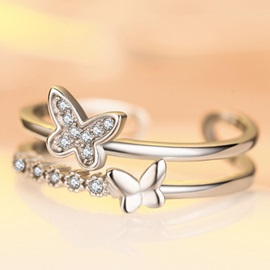 Two Butterfly Diamante Opening Ring