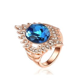 Rose Gold Blue Gemstone Ring