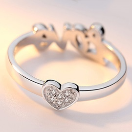 Concise Romantic 925 Silver Love Ring
