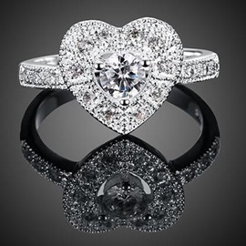 Heart-Shaped Diamante Ring