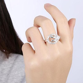 Ellipse-Shaped Diamante Ring