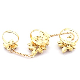 Shining Flowers Diamante Golden Conjoined Rings