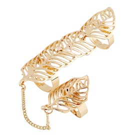 Golden Leaf Hollow-Out Joint Knuckle Alloy Rings