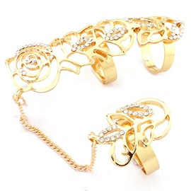 Charming Hollow Out Diamante Golden Rose Conjoined Rings