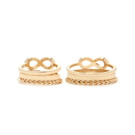 Simple Golden E-Plating Six-Pieces Ring Set
