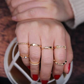 Seven-Pieces Alloy Diamante Personality Ring Set