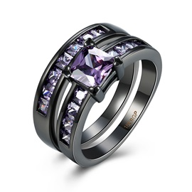 Purple Square Rhinestone Black Gun Plated Ring