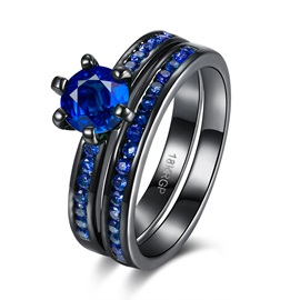 Unique Blue Rhinestone Double Layers Ring