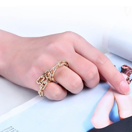 Link Chain Shaped Rhinestone Alloy Double Round Conjoined Rings