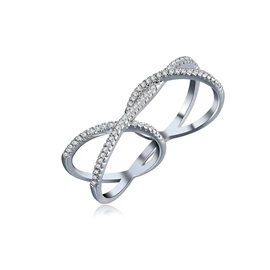 Silver Imitation Diamond Cross Simple Conjoined Rings