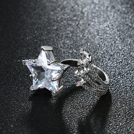 Star Stainless Steel Zircon Inlaid Ringent Rings