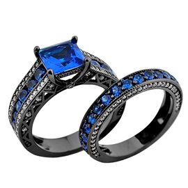 Black Gold Filled Diamante Metal Couple's Combination Rings