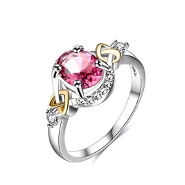 Red Oval Cut Zircon Stone Alloy Lover Rings
