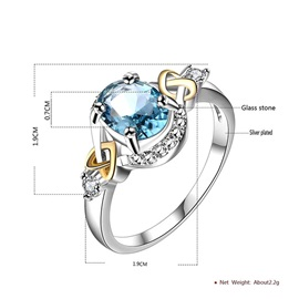 Blue Glass Stone Diamante Silver Plated Romantic Rings