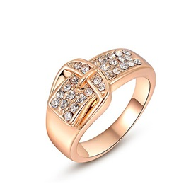 Buckle Shaped Diamante Polishing Alloy Pure Engagement Rings