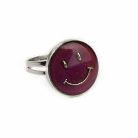 Smiling Face Alloy Adjustable Creative Mood Lover Rings