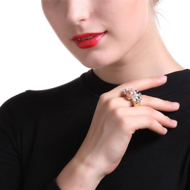 Pearl Inlaid Marquise Rhinestone Square Alloy Vintage Rings